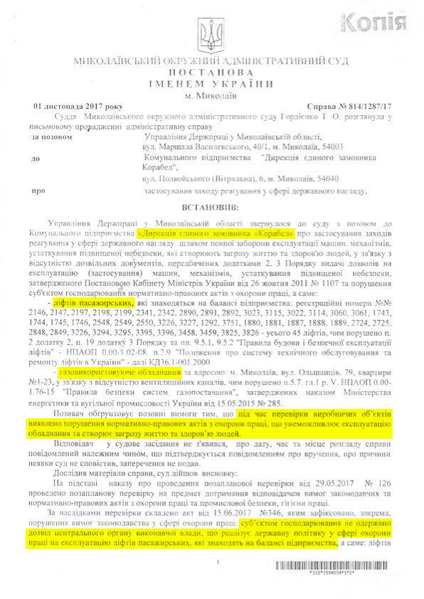 Суд остановил работу 45 лифтов в Корабельном районе Николаева